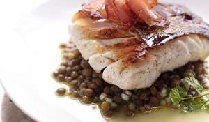 Cod with a Warm Salad of Lentils and Mojama