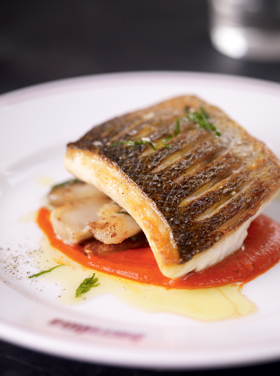 Sea Bass with Piquillo Sauce and Jerusalem Artichokes