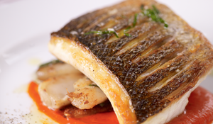 Sea Bass with Piquillo Sauce and Jerusalem Artichokes