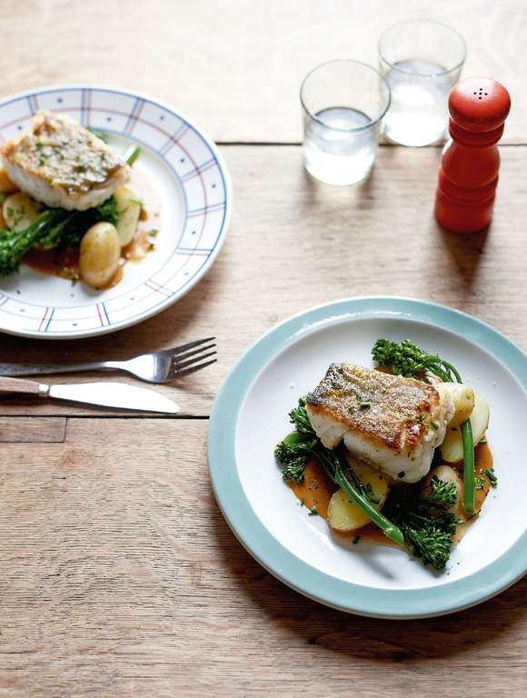 Pan-fried Cod with New Potatoes, Broccoli and a Prawn Bisque Sauce