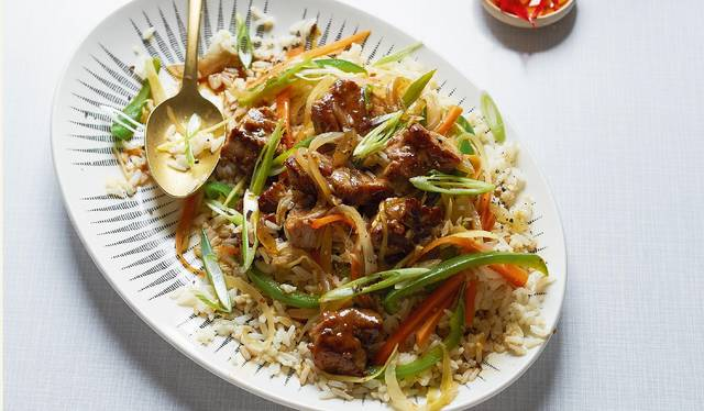 Sweet and sour pork with egg fried rice recipe britains best home cook sweet and sour pork with egg fried rice ccuart Gallery