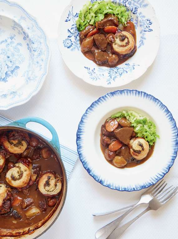 Beef and Ale Stew with Horseradish Spiral Dumplings