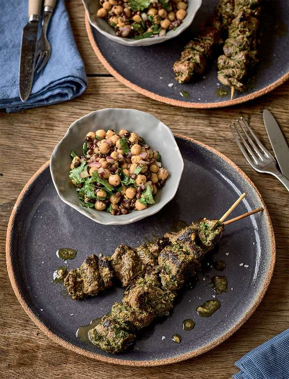 Beef Skewers with Puy Lentil and Chickpea Salad