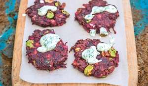 Beetroot and Cumin Fritters with Horseradish and Dill Yoghurt