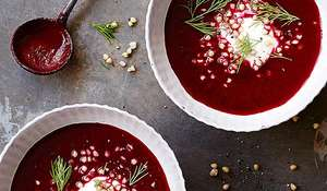 Beetroot and Buckwheat Soup with Lemon Yoghurt Sauce