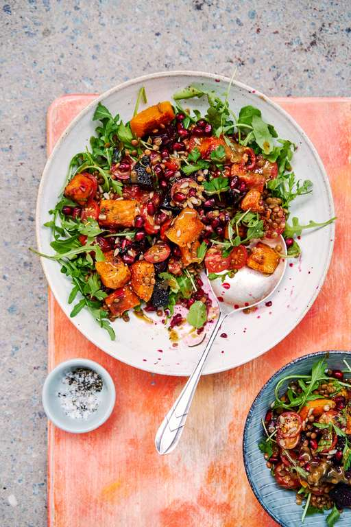 Roasted Beets and Butternut Squash with Tahini