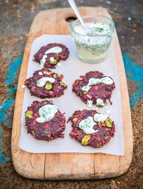 vegan dinner party recipes beetroot cumin fritters peace and parsnips