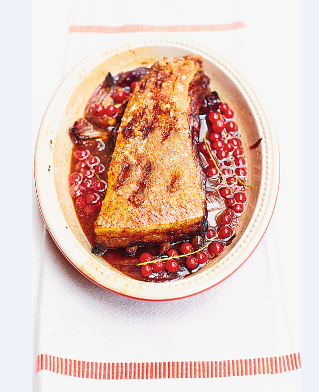 Slow-Roasted Pork Belly with Sloe Gin