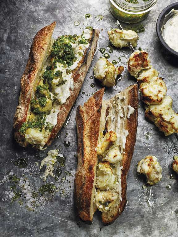 Skewered Monkfish Kebabs with Green Charmoula Dressing and Caper Mayonnaise