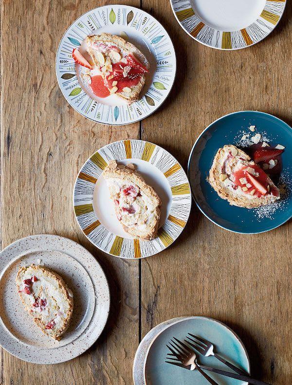meringue dessert recipes strawberry roulade jordan bourke