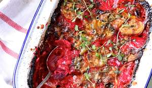 Beetroot and Sweet Potato Gratin