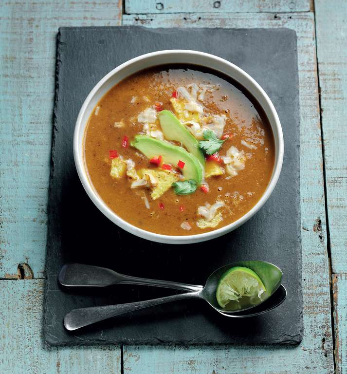 Black Bean Tortilla Soup with Avocado