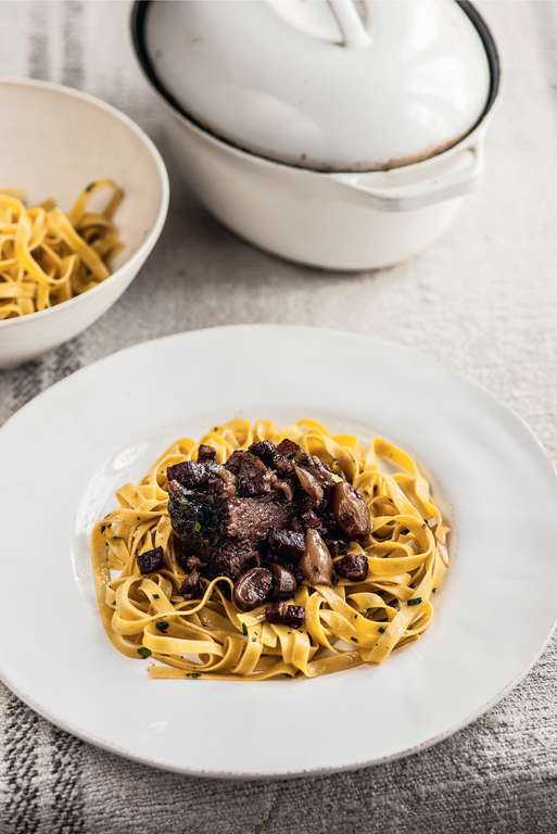 Braised Beef Cheeks with Tagliatelle