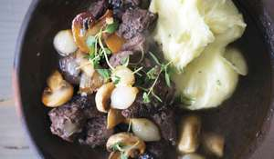 Braised Pork Cheeks with Potato-Celeriac Mash