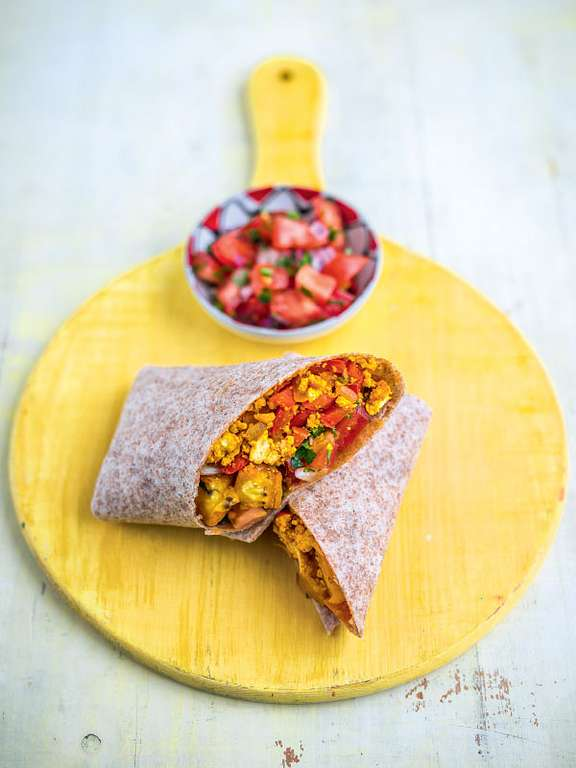 Plantain Breakfast Burrito with Pico de Gallo