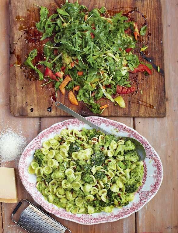 Broccoli Pasta, Chopped Garden Salad
