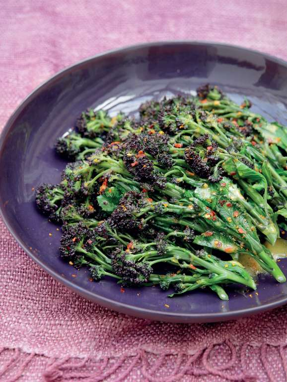 Purple Sprouting Broccoli with Clementine and Chilli