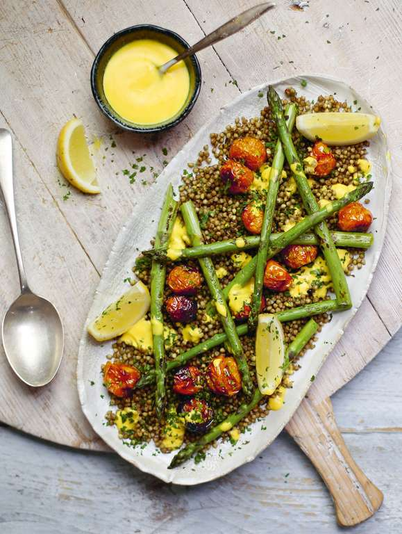 Crispy Buckwheat with Saffron Yogurt and Asparagus