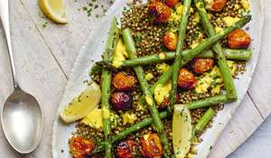 Buckwheat and Asparagus Salad with Saffron Yogurt Recipe | Abel and Cole