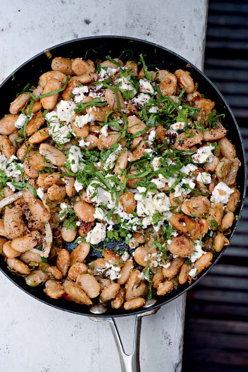 Yotam Ottolenghi's Fried Butterbeans with Feta, Sorrel and Sumac
