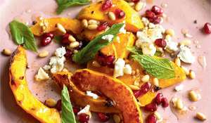 Butternut Squash, Pomegranate, Pine Nut, Feta and Mint Salad