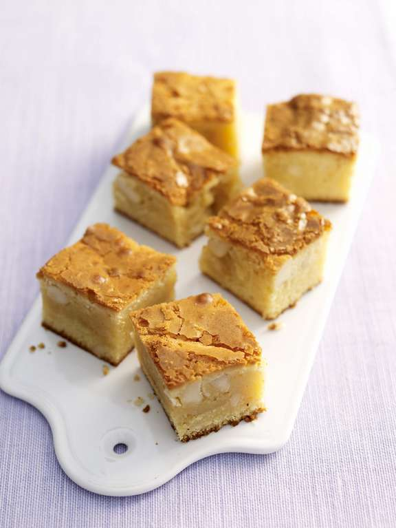 White Chocolate and Macadamia Nut Blondies