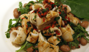 Theo Randall's Pan-fried squid with borlotti beans