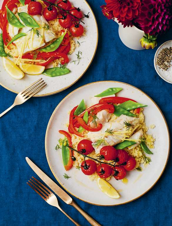 Lemony Tomato, Pepper and Cod Parcels
