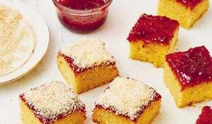 School Dinner Coconut and Jam Sponge | Easy Baking