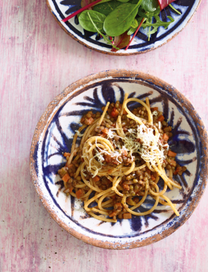 Puy lentil bolognese with pasta from Eat Well For Less