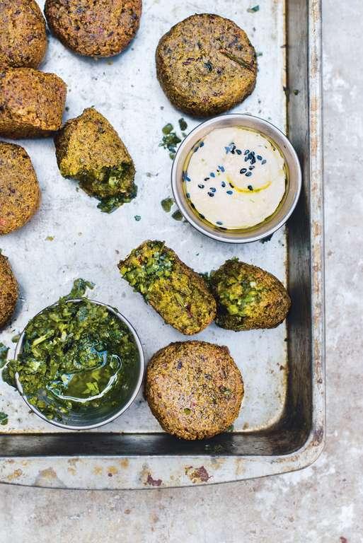Coriander Falafel, Green Chilli Zhoug, Tahini, Greek Yoghurt