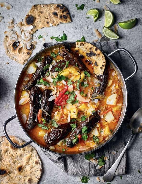 Man-up Caribbean Veg Curry & Fresh Roti