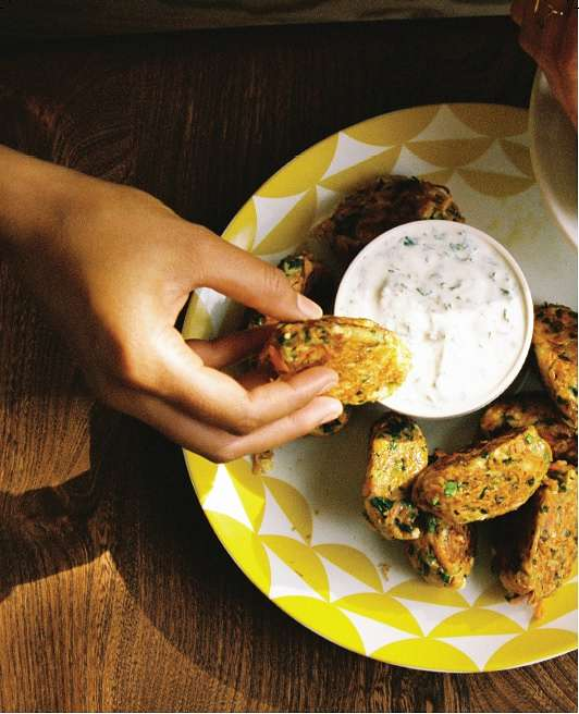 Carrot and Feta Bites with Lime Yoghurt
