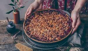 Cherry Almond Tart with Vanilla Custard Recipe | Natural Baking