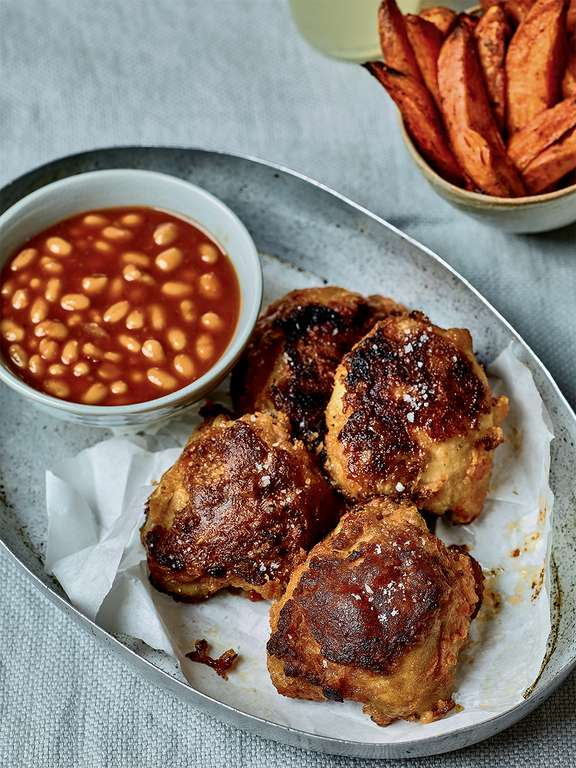 Crispy Chicken with Sweet Potato Fries and Barbecue Beans