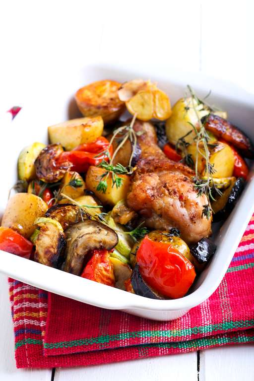 Chicken and Sausage Tray Bake
