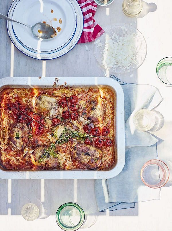 Chicken, Cinnamon and Sweet Tomato OrzofromTaverna: Recipes From a Cypriot Kitchen by Georgina Hayden
