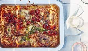 Greek Cypriot Chicken, Tomato and Orzo Tray Bake Recipe | Taverna by Georgina Hayden