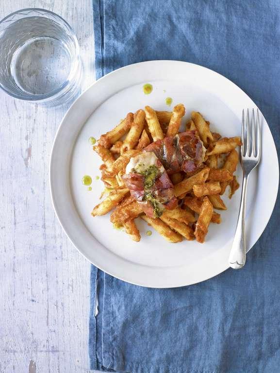 Prosciutto, Pesto and Chicken Pasta