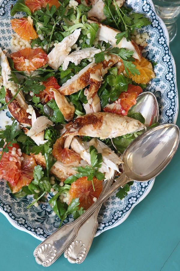 spring recipes Chicken Salad with Blood Orange and Giant CouscousfromThe Recipe WheelbyRosie Ramsden
