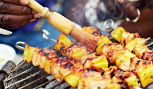 Roasted Pineapple Chicken Skewers with a Sweet Chilli Glaze from Grill it with Levi