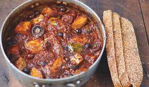 Chicken and Squash Cacciatore Mushrooms, Tomatoes, Olives, Bread