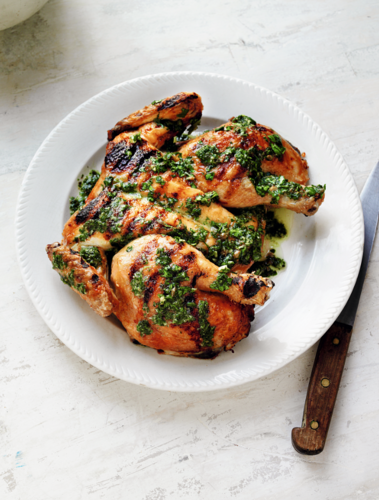 Grilled Spatchcocked Chicken with Green Sauce (Pollo alla Brace con Salsa Verde)
