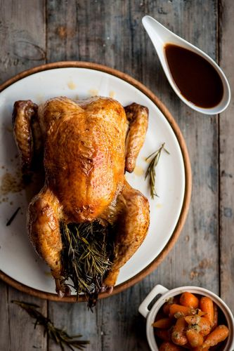 Roasted Chicken scented with Lemon and Rosemary, with a Rosemary Jus