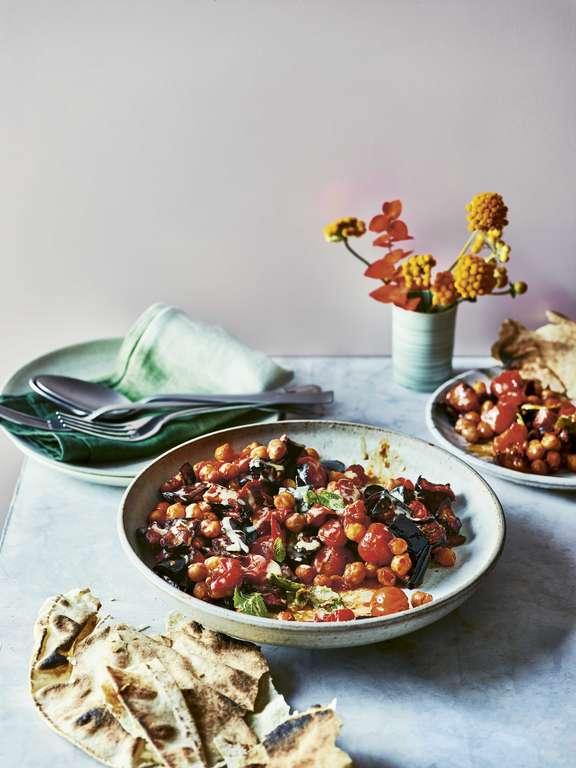 Aubergine, Tomato and Chickpea Traybake