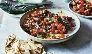 Aubergine, Tomato and Chickpea Traybake | Vegan Recipes