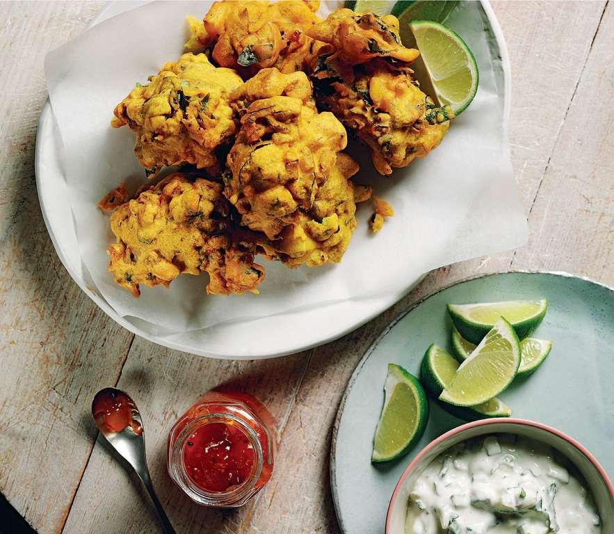 Spiced Pakoras with Coconut Raita