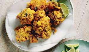 Spiced Chickpea Pakoras with Coconut Raita Recipe