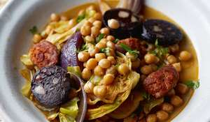 Chickpeas with Chorizo, Black Pudding and Cabbage