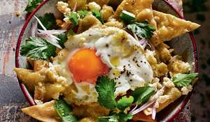 Rick Stein's Fried Tortilla Chips in Green Salsa with Crumbled Cheese (Chilaquiles)